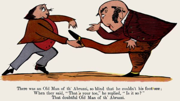 Edward Lear's illustration for his limerick: There was an old Man of th' Abruzzi