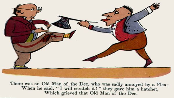 Edward Lear's illustration for his limerick: There was an Old Man of the Dee