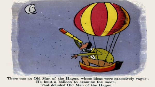Edward Lear's illustration for his limerick: There was an Old Man of the Hague