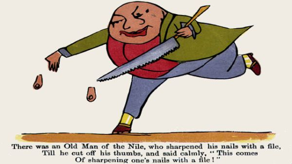 Edward Lear's illustration for his limerick: There was an Old Man of the Nil