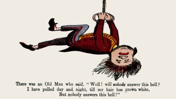 Edward Lear's illustration for his limerick: There was an Old Man, who said, 'Well! ... '
