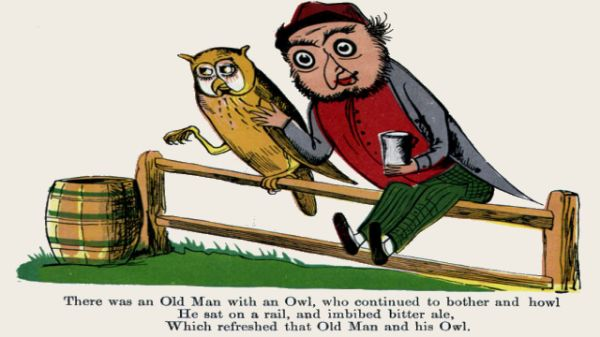 Edward Lear's illustration for his limerick: There was an Old Man with an owl