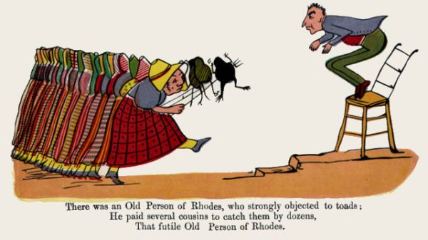 Edward Lear's illustration for his limerick: There was an Old Person of Rhodes