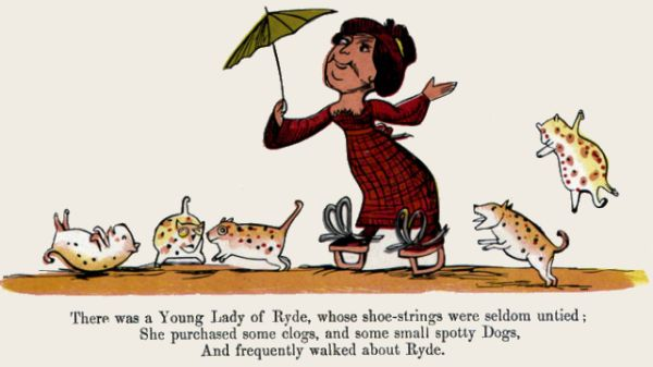 Edward Lear's illustration for his limerick: There was a Young Lady of Ryde