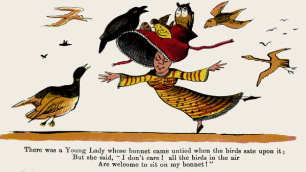 Edward Lear's illustration for his limerick: There was a Young Lady whose bonnet