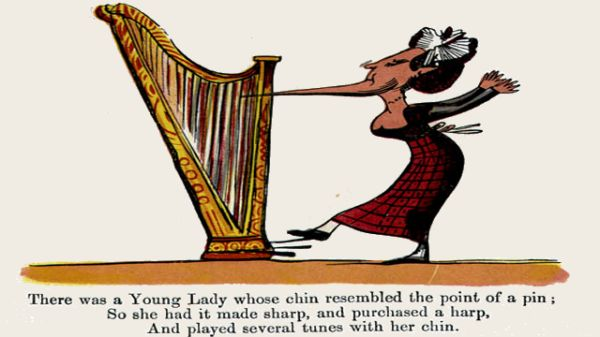 Edward Lear's illustration for his limerick: There was a Young Lady whose chin