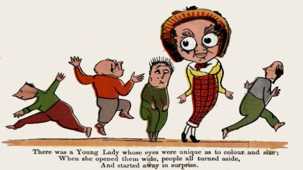 Edward Lear's illustration for his limerick: There was a Young Lady whose eyes
