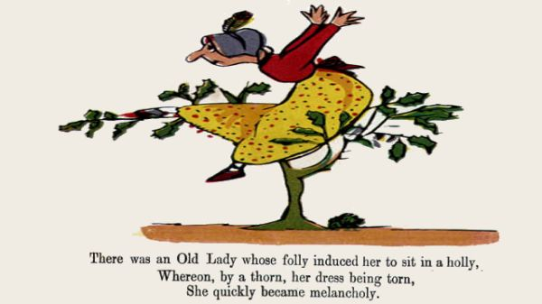 Edward Lear's illustration for his limerick: There was an Old Lady whose folly