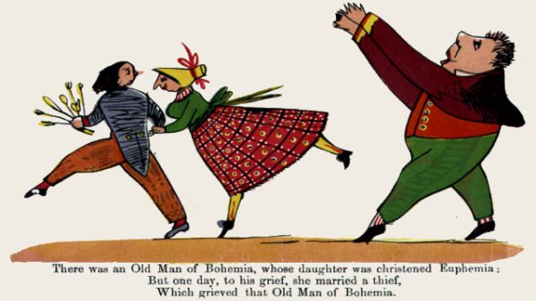 Edward Lear's illustration for his limerick: There was an old Man of Bohemia