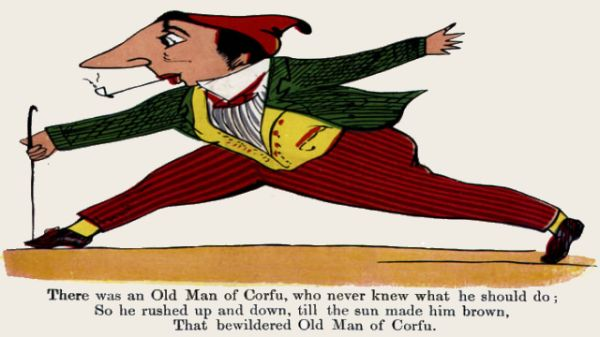 Edward Lear's illustration for his limerick: There was an Old Man of Corfu