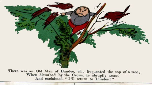 Edward Lear's illustration for his limerick: There was an Old Man of Dundee