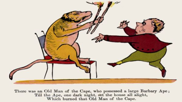 Edward Lear's illustration for his limerick: There was an Old Man of the Cape