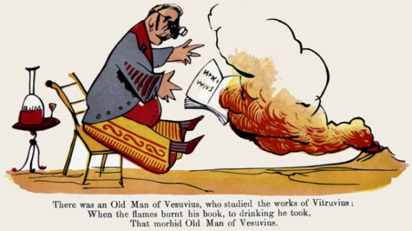 Edward Lear's illustration for his limerick: There was an Old Man of Vesuvius