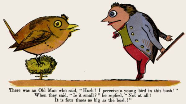 Edward Lear's illustration for his limerick: There was an Old Man who said, 'Hush!...'