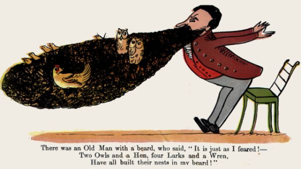 Edward Lear's illustration for his limerick: There was an Old Man with a beard