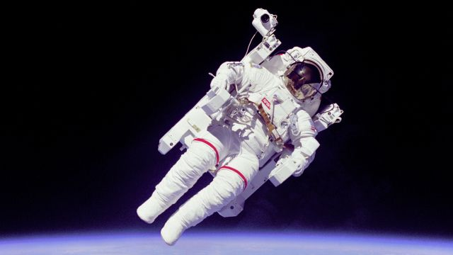 Close Up Of Bruce McCandless Making The First Untethered EVA