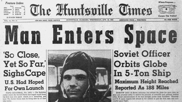 Newspaper Announcing Yuri Gagarin's Flight