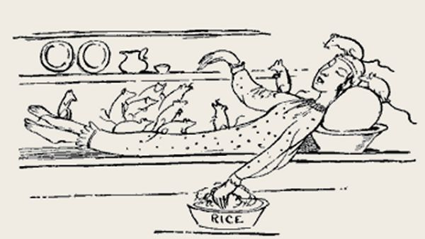 Edward Lear's illustration for his limerick: There was a young person of Bantry
