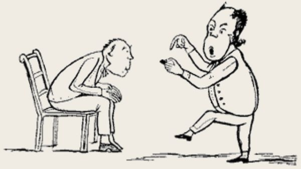 Edward Lear's illustration for his limerick: There was an old man on the Humber