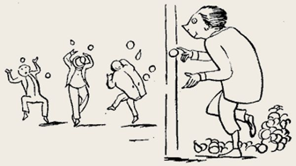 Edward Lear's illustration for his limerick: There was an old person of Minety