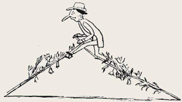 Edward Lear's illustration for his limerick: There was an old person of Wilts