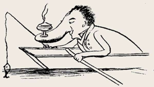 Edward Lear's illustration for his limerick: There was an old man in a barge