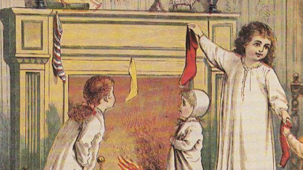Vintage Image Of Children Hanging Stockings