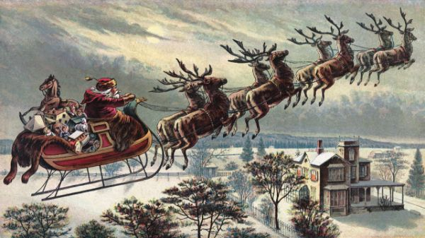 Santa Flying His Sleigh Over Rooftops