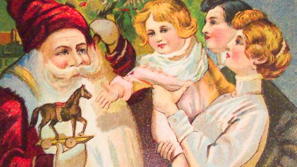 Vintage Image Of Santa Giving A Present To Toddler With Parents Present