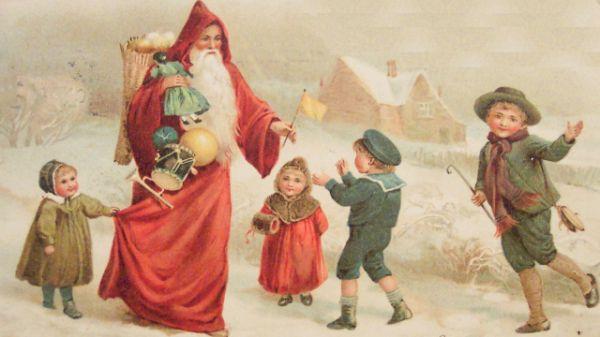 Vintage Image Of Santa With Children