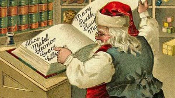 Vintage Image Of Santa Looking At A Good Childrens List