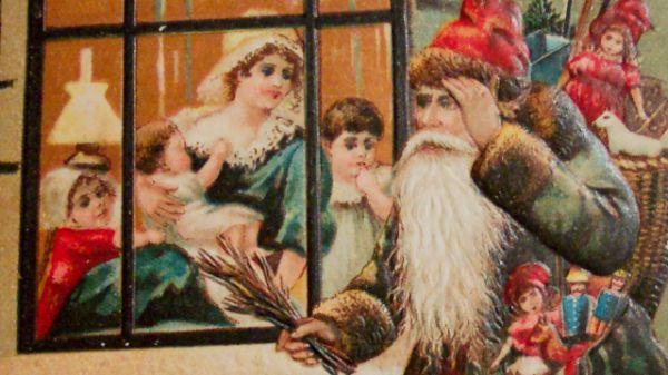 Vintage Image Of Santa Looking Through Window