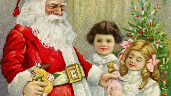 Vintage Image Of Santa Giving A Child A Doll
